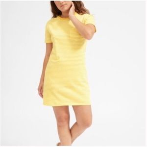 Everlane Yellow White Striped Tee Shirt Dress